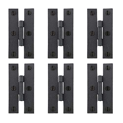 - Renovator's Supply Black Iron H-Hinges for Cabinet Doors Set of 6