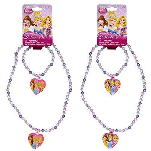[ Total 2 sets ] Disney Princess Bead Heart Charm Necklaces and Bracelets (1 Pink and 1 Light Pink)]()