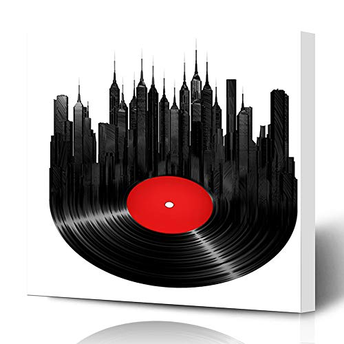 - Ahawoso Canvas Prints Wall Art 12x12 Inches Record Vinyl City Music Vintage Turntable Jazz Label Sound Urban Decor for Living Room Office Bedroom