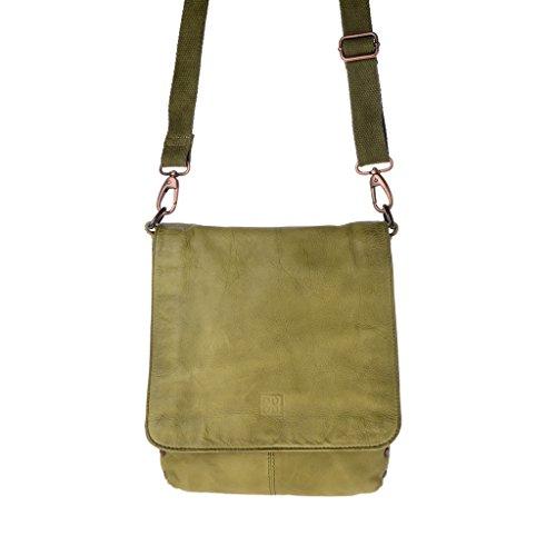 Herrentasche mit Träger aus gewaschenem Leder nach Fertigstellung eingefärbt mit Überschlag der Marke DUDU Pistachio Green F1SAVyYqr