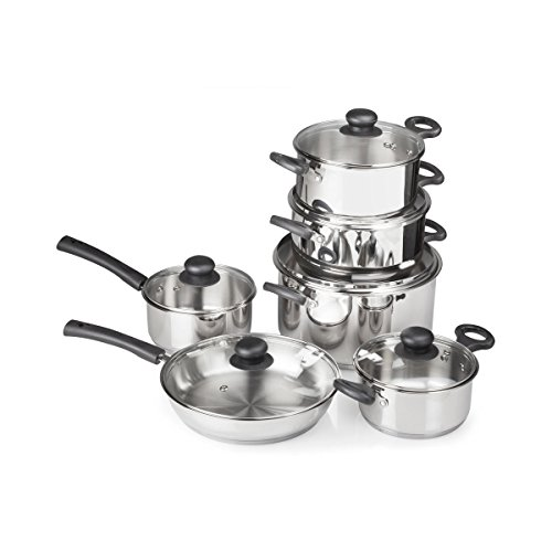 FortheChefs-12-Piece-Stainless-Steel-Cookware-Set-with-Tempered-Glass-Lids-Bakelite-Handles-Knobs