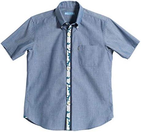 [MAJUN (マジュン)] 国産シャツ かりゆしウェア アロハシャツ 結婚式 メンズ 半袖シャツ ボタンダウン コントラストフラワービズ