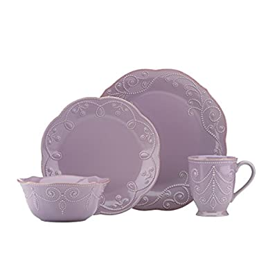 Lenox French Perle Violet 4 Piece Place Setting - 843833 - 4 colors available - white, ice blue, pistachio and violet. Made of durable stoneware. Dishwasher & Microwave Safe - kitchen-tabletop, kitchen-dining-room, dinnerware-sets - 41VRtrgWpJL. SS400  -