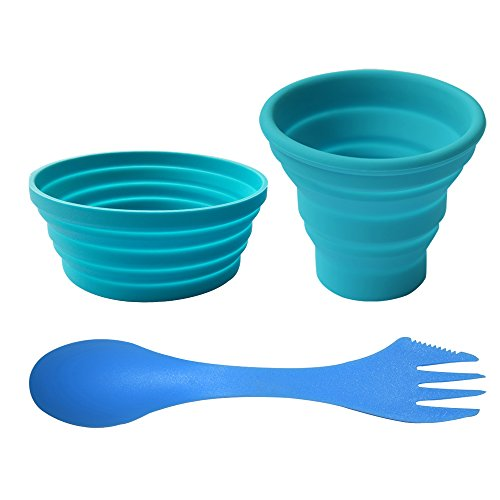 Ecoart Silicone Collapsible Bowl Cup Set with Spork for Outdoor Camping Hiking Travel, Blue - Set of 3 (Bowl Cm 18)