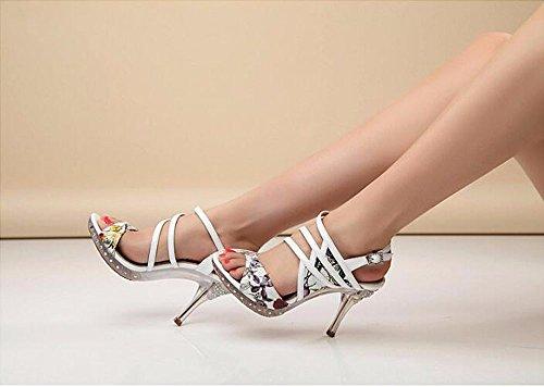 Impresión Zapatos Cristal Tacón white Finos Elegante Transpirable Zapatos Alto la de Verano En el Moda Sandalias Perforación Tacones AJUNR la los Inferior p0SFzz