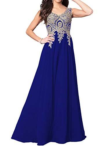 Beaded Appliques Prom Dresses A Line V Neck Open Back Long Formal Gowns Royal Blue from GMAR