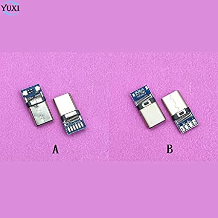 Cable Length: B ShineBear 1pcs DIY USB 3.1 Welding Male Jack Plug USB 3.1 Type C Connector with PCB Board Plugs Data Line Terminals for Android