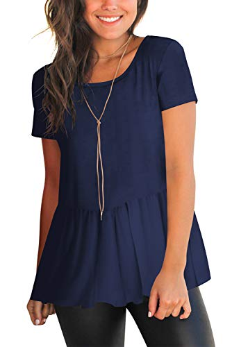 (Solid T-Shirt Top for Women Round Neck Open Back Casual Tee Tops Blouses Navy Blue S)