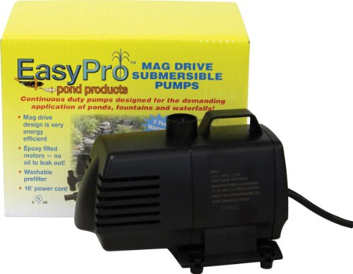 EasyPro EP850 Submersible Mag Drive Pond Pump, Max Flow 850 Gallons-Per-Hour - Quiet Mag Drive Submersible