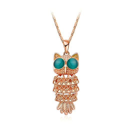 gnzoe-rose-gold-plated-novelty-classic-style-cute-blue-eye-owl-silver-pendant-necklaces-for-women