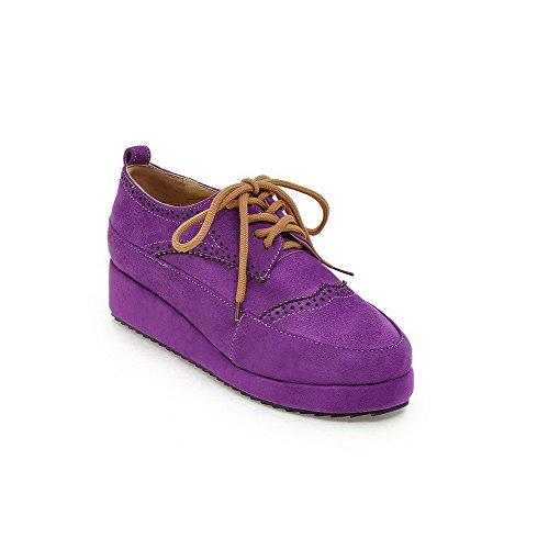 Amoonyfashion Dames Veterschoen Ronde Gesloten Neus Lage Hakken Massief Stevige Pumps-schoenen Paars