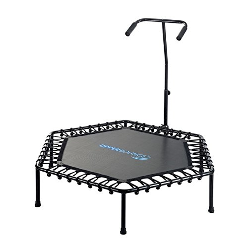 Upper Bounce Yellow 50-inch Hexagonal Fitness Mini-trampoline with T-shaped Adjustable Hand Rail by Upper Bounce (Image #1)