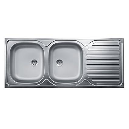 Esse Italia Lavello cucina due vasche con gocciolatoio dx acciaio da ...
