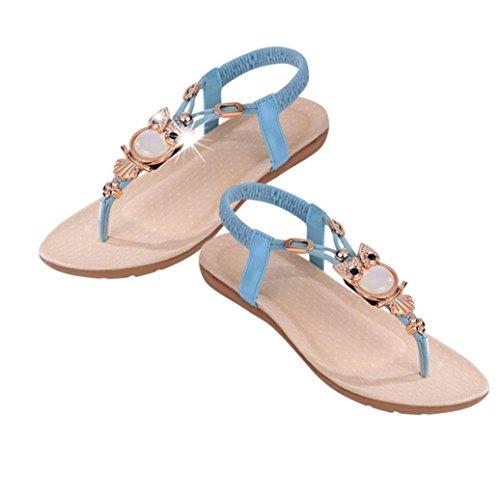 Sandalias Bohemia,Xinan Rhinestone Mujeres Zapatos del Dedo del Pie del Clip