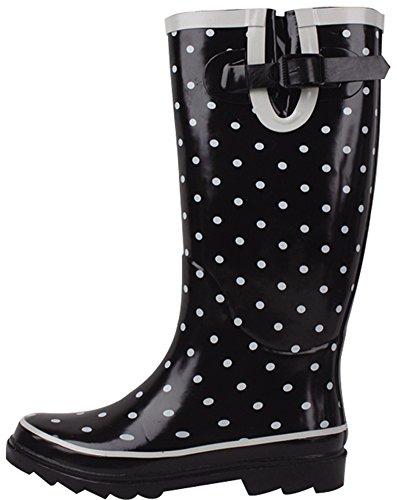 Cambridge Select Mujeres Waterproof Pattern Print Rodilla Welly Rain Bota Black Dotted