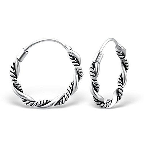 925 Sterling Silver 14mm Bali Rope Endless Hoop Earrings 9823