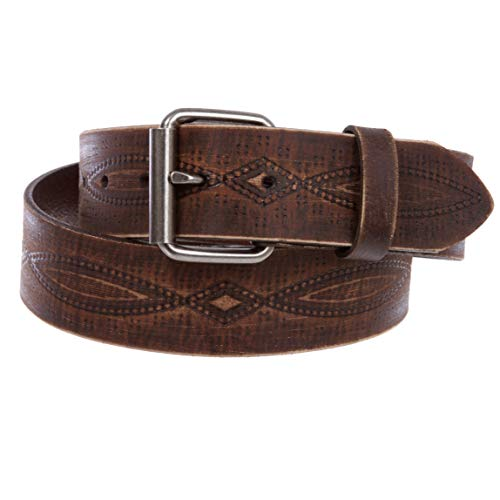 "1 3/4"" snap on Embossed Vintage Cowhide Thick Leather Casual Jean Belt, Brown 