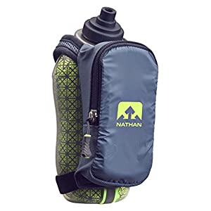 Nathan Speed Draw Plus Quick Grip Insulated Running Water Bottle with Zip Pocket, Bluestone, 18 oz