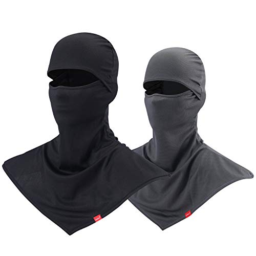 AIWOLU Balaclava Face Mask for Sun Protection Breathable Motorcycle Long Neck Covers in Summer for Men Hiking Fishing Trekking Walking (Black+Grey)