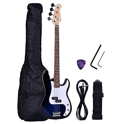 NEW Full Size 4 Strings Blue Electric Bass Guitar +AMP Cord+Gigbag
