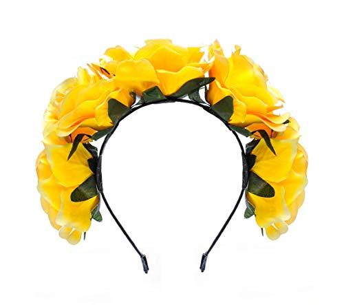 Love Fairy Vintage Rose Flower Headband Crown Hair Garland for Travel Wedding Party Festivals (Yellow)