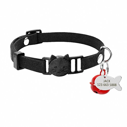 Kuntrona Cat Collar Personalized Cats Breakaway Quick Release Safety Kitten Collar Engraved Fish ID Tag Name Necklace With Bell Black XS