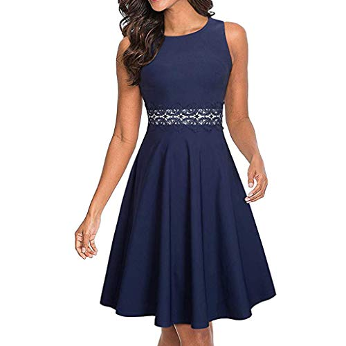 Pervobs Women Sleeveless Cocktail A-Line Embroidery Party Dress Summer Solid O-Neck Workout Loose Swing Dress Vestido(S, Blue)