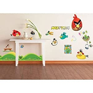Removable angry birds ii wall stickers childrens kids for Angry bird wall mural