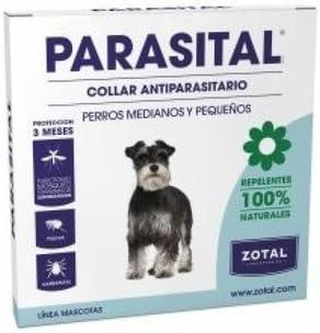 Collar Antiparasitario para Perros Pequeños y Medianos de Parasital - Zotal, Repelente ante Mosquitos, Pulgas y Garrapatas. Activo Frente la Leishmaniasis