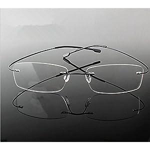 Rimless Reading Glasses Fashion Unisex Men Women Bendable Anti-fatigue Readers Glasses Eyeglasses Frameless Rectangle Eyeglasses Eyewear Magnification Glasses Spectacles Business Glasses Black+3.50