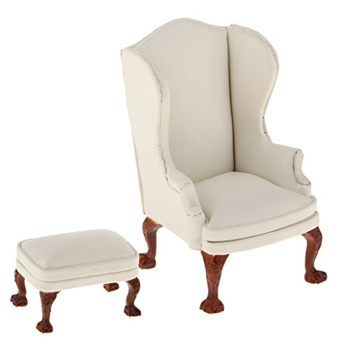 Back Interior Chair (MonkeyJack White High Back Wing Arm Chair with Ottoman Furniture Set for 1:12 Dollhouse Accessories)