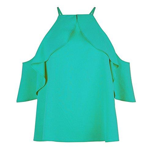 Chemisier Mousseline Blouse Hauts Femme Qitun Shirt Vert sans Bretelles Taille Lache Grande Gland Manches vztxaR