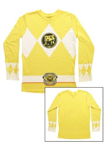 The Power Rangers Long Sleeve Ranger Costume Yellow T-shirt (Adult (Yellow Power Ranger Samurai Costume)