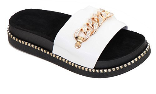 Flatforms Boutique femme On Sapphire Sapphire Sapphire Slip by Sliders Summer Flat en pour PU simili cuir Boutique SwqpwPdBRx