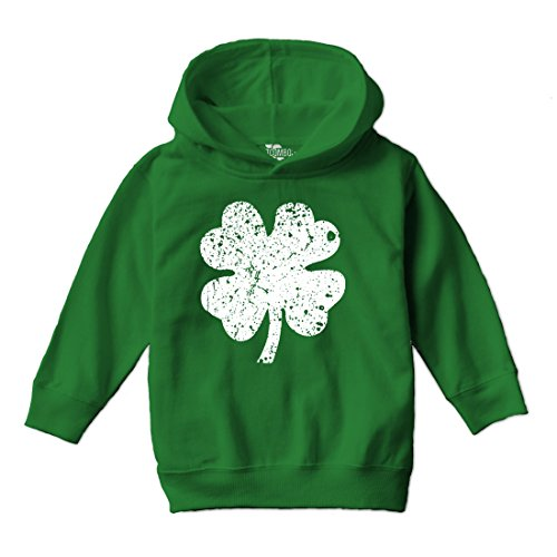Tcombo Distressed Irish Shamrock - Clover - St Patricks Day Gift Toddler Little Boy Hoodie Sweatshirt (5/6, Kelly (Clover Kids Hoodie)