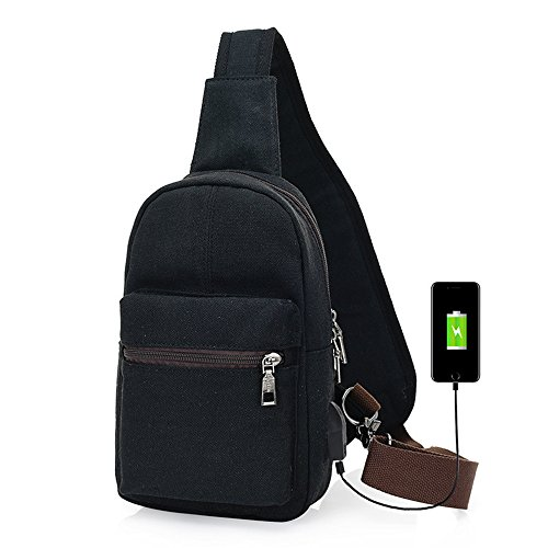 for Sling Charging Backpack Ybriefbag Gym Crossbody Port USB Black Sports Backpack Crossbody Bag Shoulder Outdoor Sling Men Bag Women with Chest Pack Men Outdoor for RwInIEZxqr