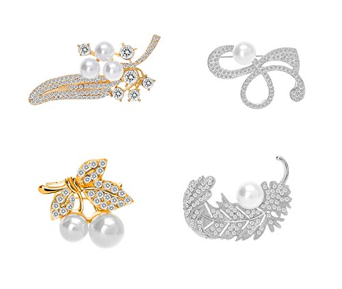 4 Pcs Flower Leaf shape Pearl Brooches 18K Gold Plated Crystal Brooches for women Girls (Set 3-pack of 4)
