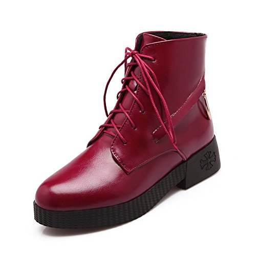 Toe top Closed Lace Heels Boots AmoonyFashion PU Low Red Low Round up Women's fSwvqX
