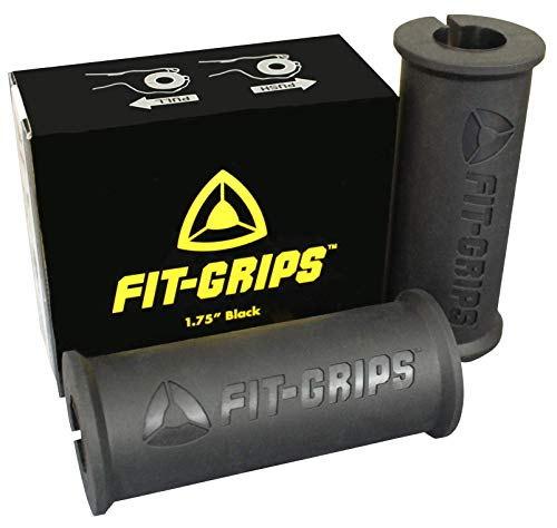 Fit Grips 1.75 Thick Fat Bar Training for Back, Bicep, Tricep, Forearm, Wrist (Black)