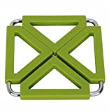 Square Stainless Steel Silicon Potholders Pot Holder,Heat-proof Mat(Green)