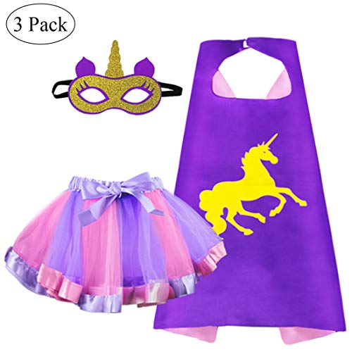 Kids Superhero Unicorn-Cape and TuTu Skirt with Mask for Girls Rainbow Dress Up Unicorn Party -