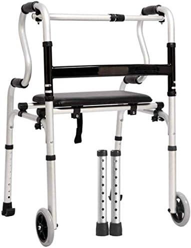 アルミニウム製折りたたみ式ローラーウォーカー、シート付き、コンパクトハンディキャップメディカルモビリティ高齢者に最適、高齢者向けの歩行補助器具