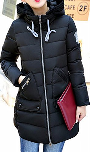 Hoodie Warm Classic Puffer Winter Black MK988 Mid Womens Length Jacket 4ZnEX