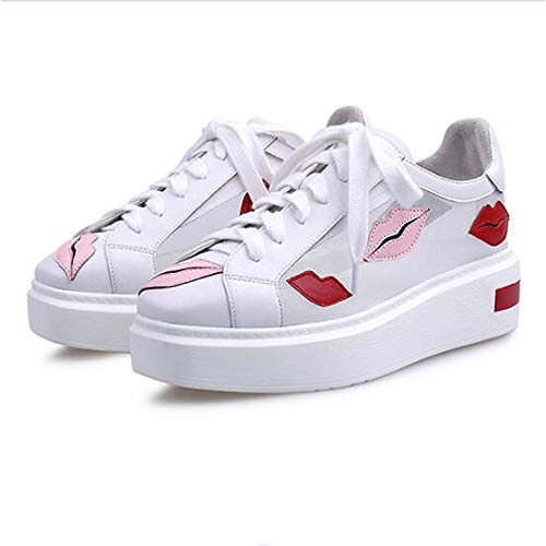 Cerrado Punta Negra Leather Zapatos Summer con Creepers Rosa ZHZNVX Pink Comfort Sneakers Nappa de Spring Mujer Blanca 7xvqwIqF6
