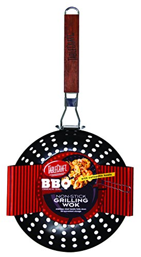 TableCraft BBQ19H BBQ Nonstick Grill Wok with Wood Handle, Small, Steel