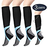 Compression Socks for Women & Men (3 Pairs), Poshei Medical Graduated Compression Sock 20-30 mmHg for Running, Athletic Sports, Flight Travel, Nurses, Maternity Pregnancy, Shin Splints, Edema, Varicose Veins