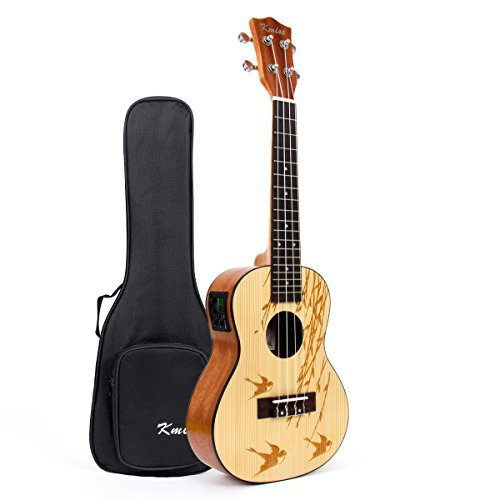 Kmise Concert Electric Acoustic Ukulele Solid Spruce Ukelele Uke Hawaii 4 String Guitar 18 Frets 21 inch with 3 Band EQ with Bag by Kmise