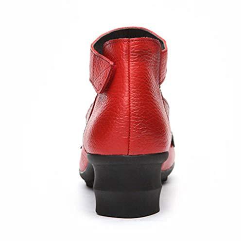 Zapatos Hecho Alto Tacón Rojo Damas Informal De Mano Bordado Cuadrado Redonda Talón Cuero Calzado Mujer A Punta rIgYrxqwTt