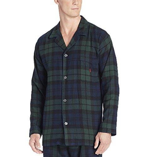 Plaid Flannel Pajama Top (Polo Ralph Lauren Flannel Long Sleeve Pajama Top (P656) XL/Blackwatch Tartan)