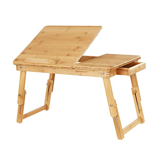 SONGMICS Multi Function Lapdesk Table Bed Tray Foldable Adjustable Breakfast Table Tilting Top with Storage Drawer Bamboo Wood Natural ULLD01N Wood Tray Tables